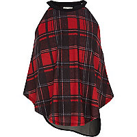 Girls red check cami top