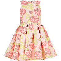 Girls pink floral jacquard prom dress