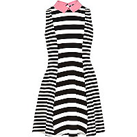 Girls mono stripe fit and flare dress