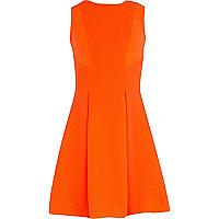 Girls orange ribbed fit and flare dress