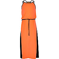 Girls orange colour block maxi dress