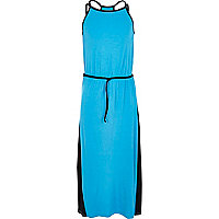 Girls blue colour block maxi dress
