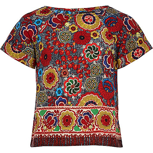Girls red folk print top