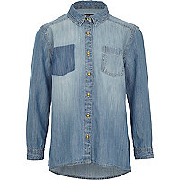 Girls medium wash denim shirt