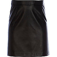 Girls black PU skirt