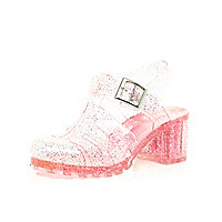 Girls pink glitter jelly heel sandals