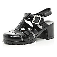 Girls black jelly heel sandals