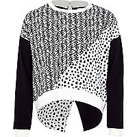 Girls black spot print sweatshirt