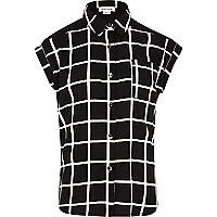 Girls black check shirt