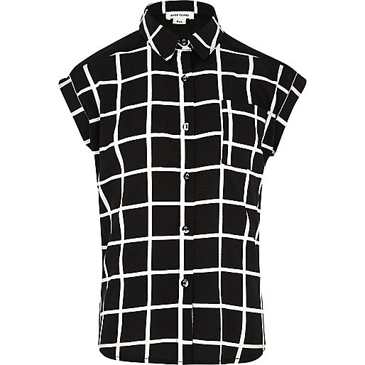 Girls black check shirt