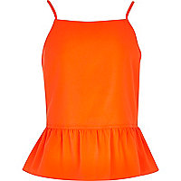 Girls orange bow back cami top