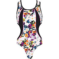Girls black floral cut out swimsuit