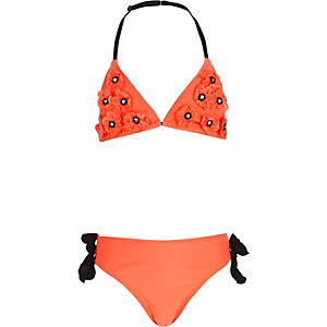 Girls coral 3D laser cut floral bikini