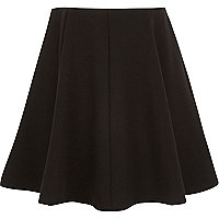 Girls black panelled skirt