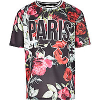 Girls black floral Paris print mesh t-shirt