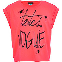 Girls pink totes vogue print crop t-shirt