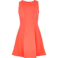 Girls fluro pink fit and flare dress