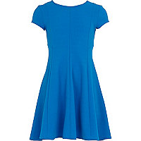 Girls blue crepe fit and flare dress