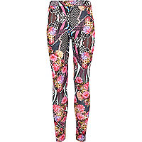 Girls geo floral leggings