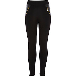 Girls black leather-look panel zip leggings