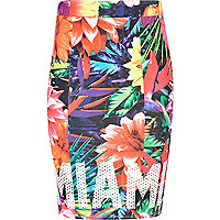 Girls tropical print Miami tube skirt
