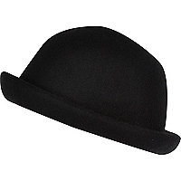 Girls black bowler hat