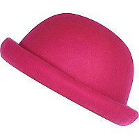 Girls bright pink bowler hat