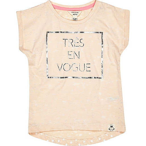 Mini girls peach Tres En Vogue t-shirt