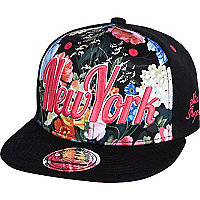 Girls black NY floral snapback hat
