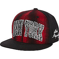 Girls red tartan New York snapback hat