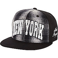 Girls black tartan New York snapback hat