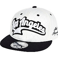 Kids white quilted LA snapback hat