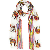 Girls cream elephant print scarf