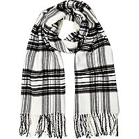 Girls white check scarf
