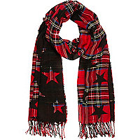 Girls red check star scarf