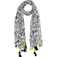 Girls white neon aztec scarf