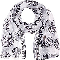 Girls white skull print scarf