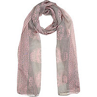 Girls pink skull scarf