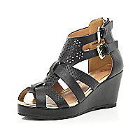 Girls black laser cut strappy wedges