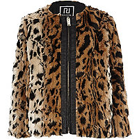 Girls brown faux fur animal print bomber coat