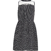 Girls black and white spot prom dress