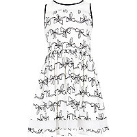 Girls cream bow print prom dress
