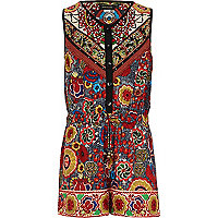 Girls red folk print playsuit