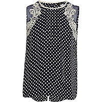 Girls navy spot split back top