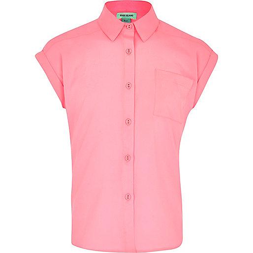 Girls neon pink boxy shirt