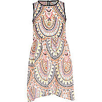 Girls pink soft tribal print prom dress