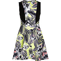 Girls green tropical fit and flare dress