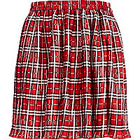 Girls red check pleated skirt
