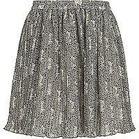 Girls black dalmation pleated skirt
