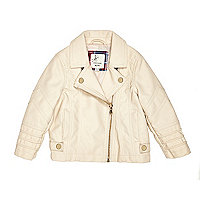 Mini girls cream leather look biker jacket